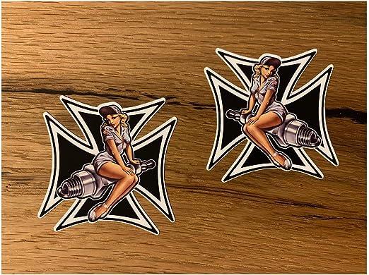 Cut It Folientechnik Design Mg356 2x Girl Cross Aufkleber Je 6 X 6 Cm Pinup Sexy Oldschool Vintage Kreuz German Oldtimer Retro Rockabilly Auto