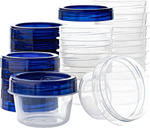 [4 oz 12 Pack] Twist Top Deli Containers Clear bottom With blue Top Twist on Lids Reusable, Stackable, Food Storage Freezer Container
