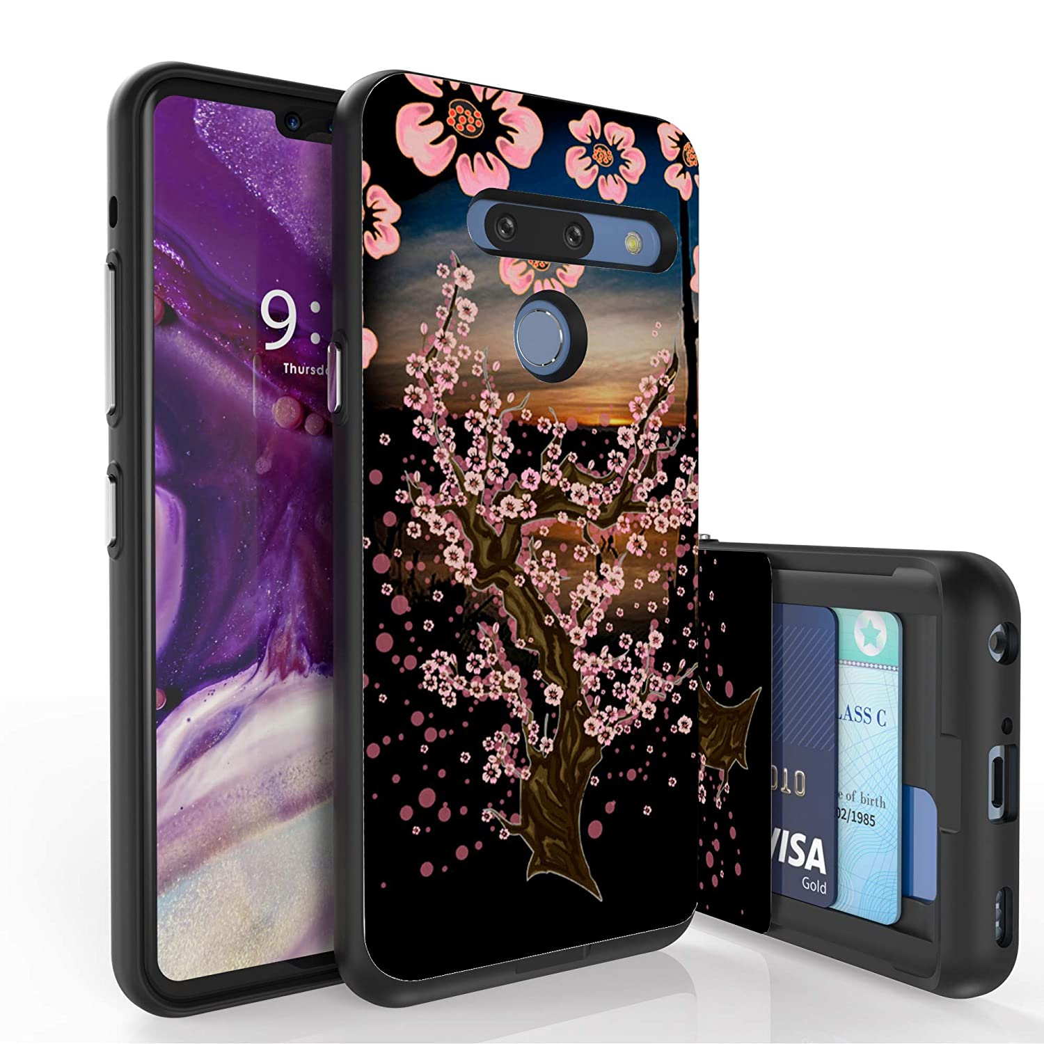 PimpCase Slim Wallet Case + Dual Layer Card Holder PimpCase Compatible with LG G8 ThinQ (Released 2019) Sunset Sakura