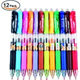 JX Tyno-K35 12 Colors Retractable Gel Ink Pens Set,Colored Roller Ball Point Pen,Ink Width 0.5MM