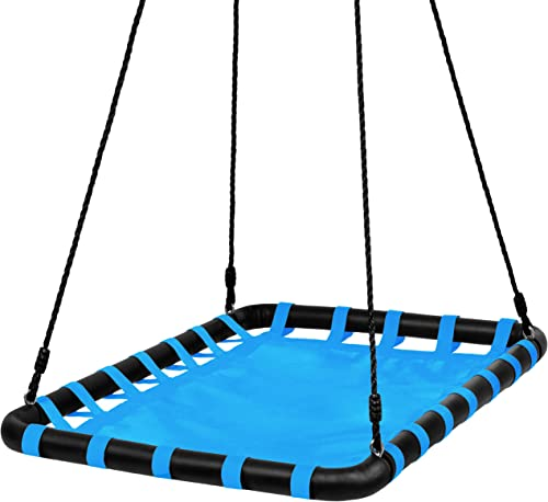 Best Choice Products 40x30in Kids Large Heavy-Duty Mat Platform Tree Spinning Swing w Rope, Metal Loops – Blue