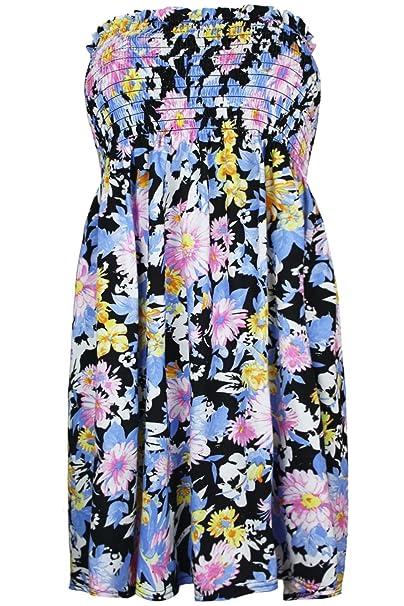 Oops Outlet-vestido de mujer, diseño de flores rosas Bain de Soleil Froncé vela