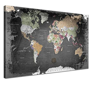 LANA KK   Weltkarte Graphit Mit Kork Rückwand   Edel Leinwand Bild  Kunstdruck Auf Keilrahmen,