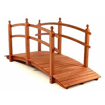 Große Holzbrücke Teichbrücke Teich Garten Holz Brücke Mit Geländer Rot    Braun