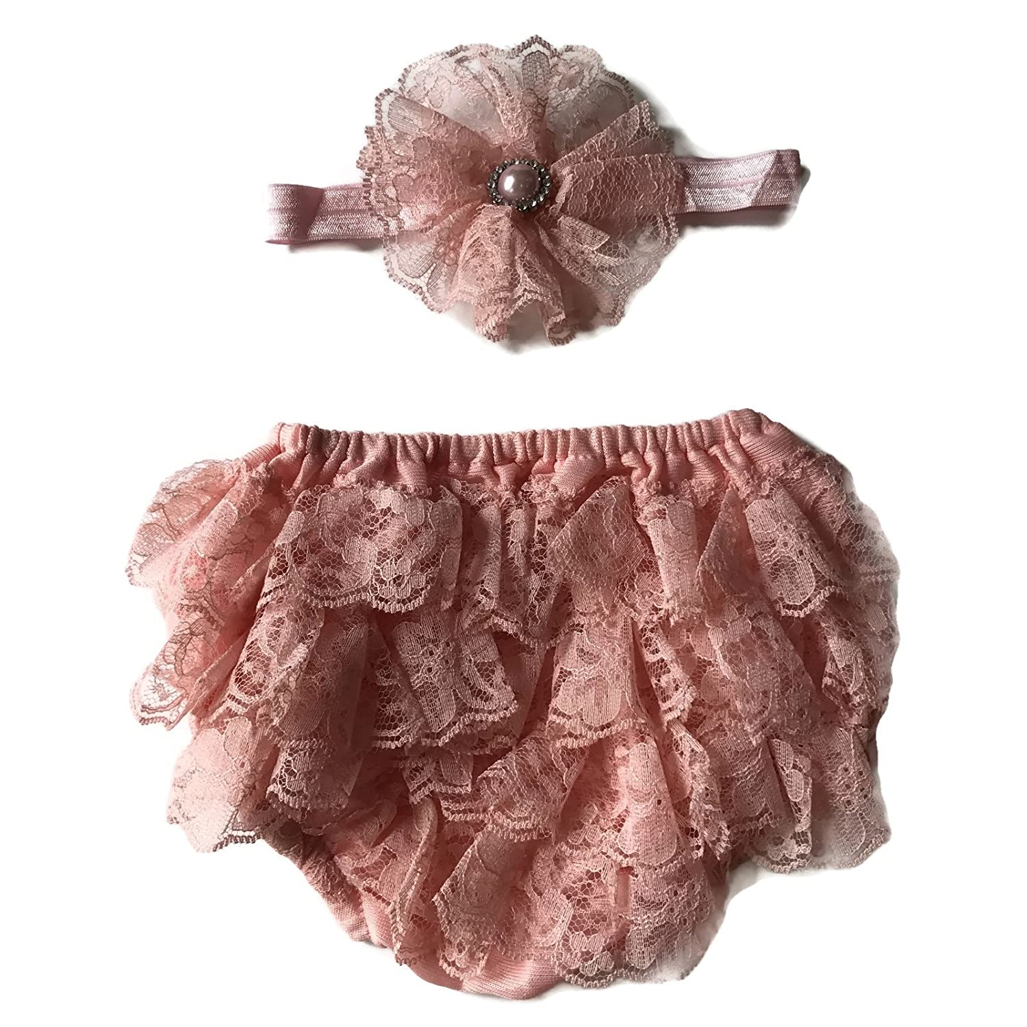 Rush Dance Lace Ribbon Baby Ruffle Bloomers Diaper Covers & Headband