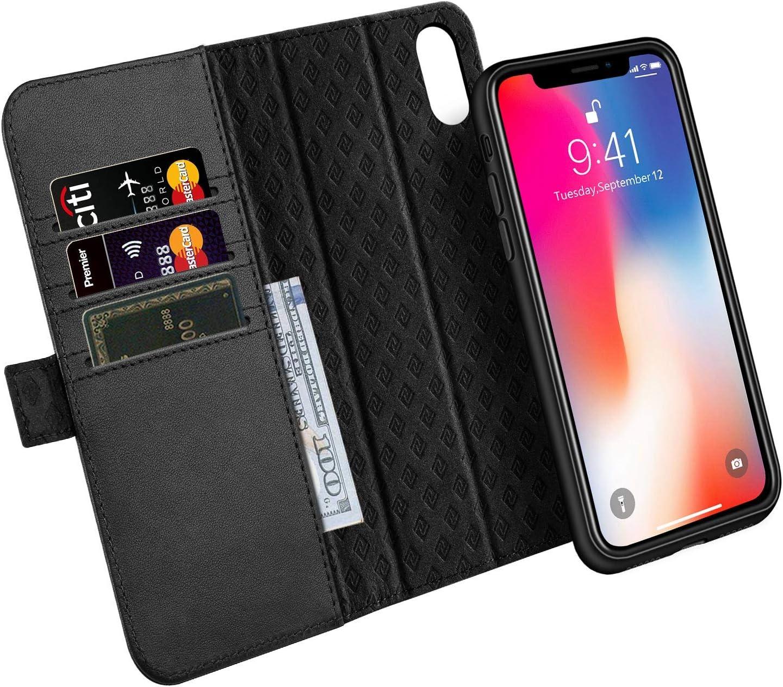 ZOVER Coque iPhone XS,Coque iPhone X, Détachable Housse Portefeuille iPhone XS en Cuir Véritable avec 3 emplacements pour Cartes-Noir