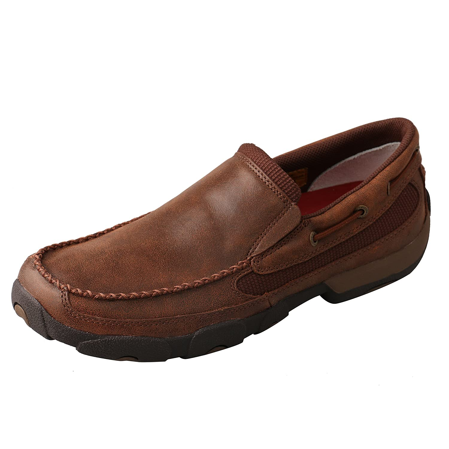 Brown Twisted X Mens Leather Slip-On Rubber Sole Roune Toe Driving Moccasins