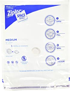 Ziploc Space Bag, Flat, Medium, 2 Count