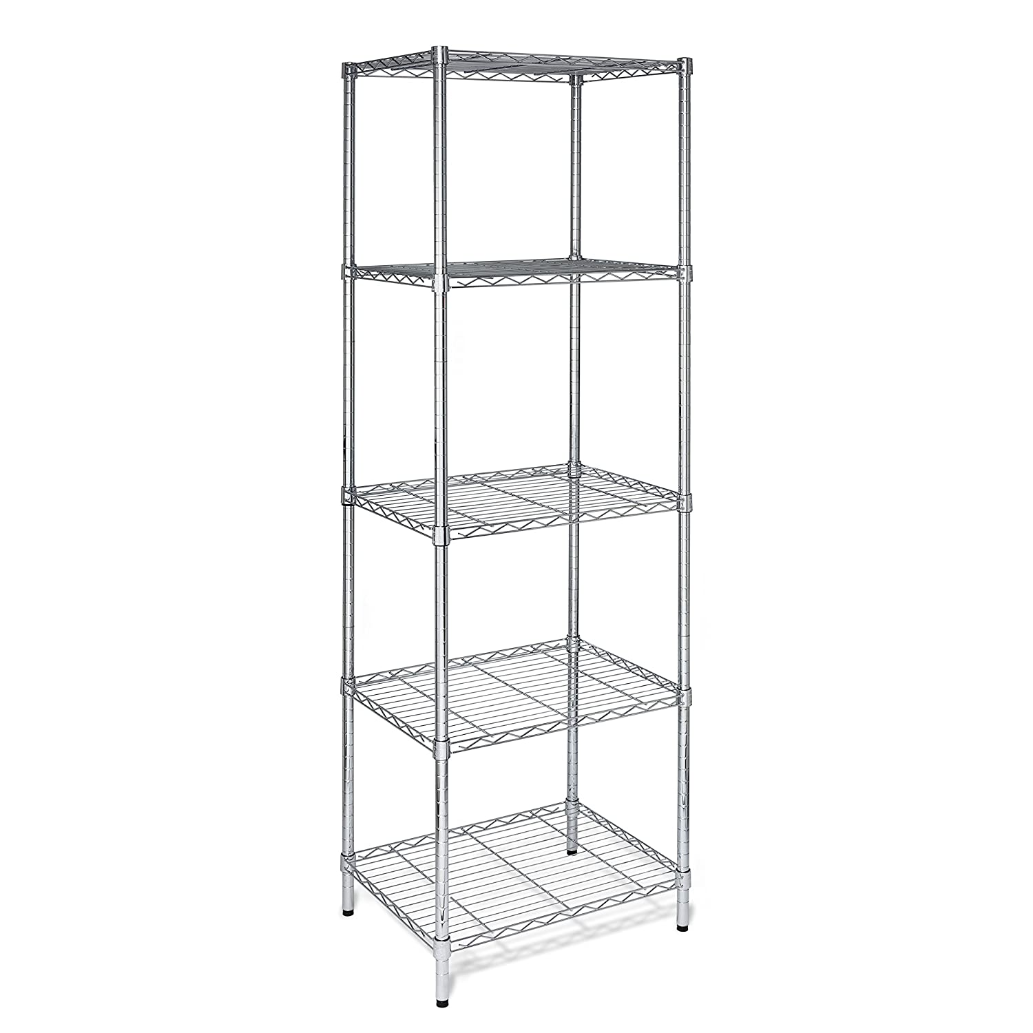 Honey-Can-Do SHF-01054 5-Tier Chrome Shelving Unit, 250 lbs