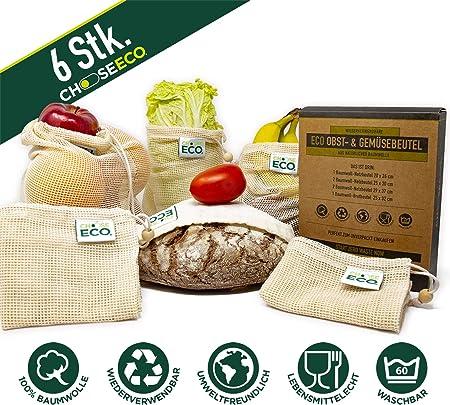 sacchetto per il pane in 100/% cotone biologico ChooseEco Set di 6 sacchi per frutta sacchetti per verdure certificato GOTS