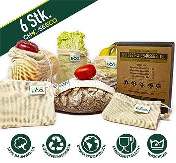 ChooseEco - Juego de 6 bolsas para fruta + bolsa para ...