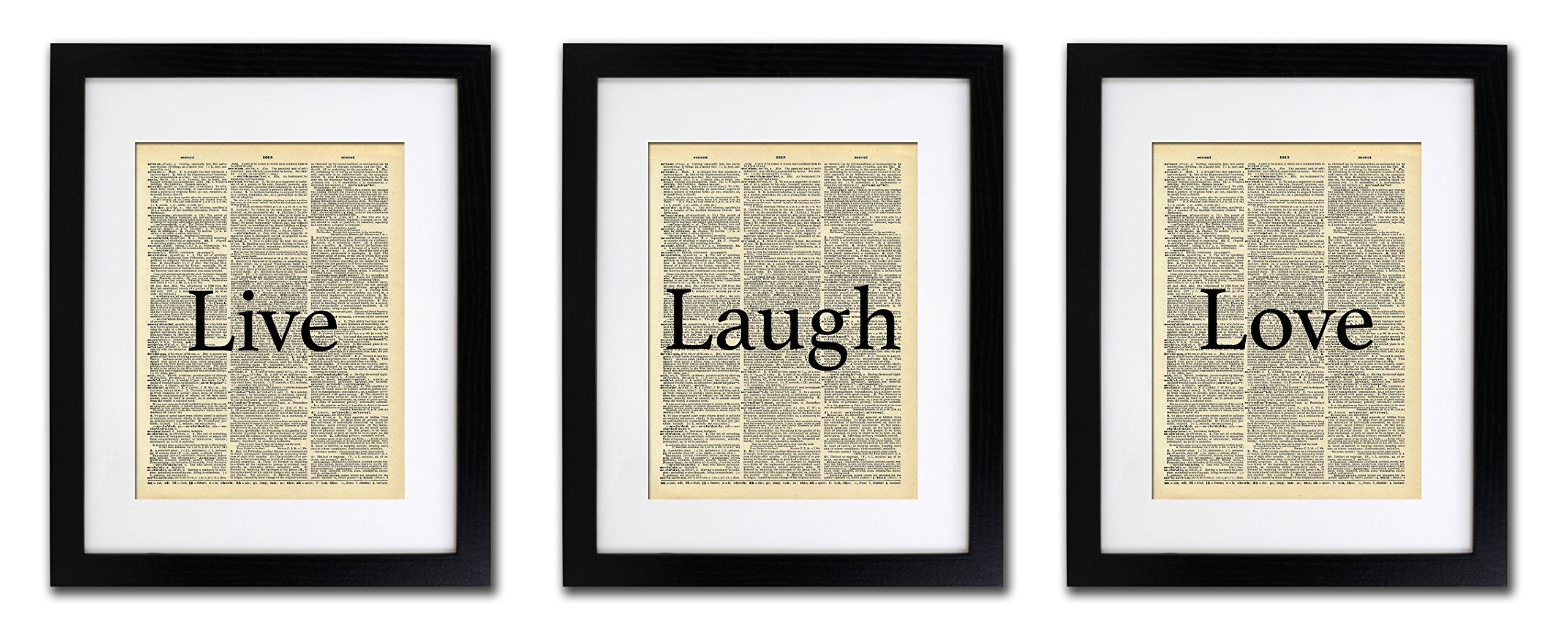 Live Laugh Love - 3 Print Set - Vintage Dictionary Print 8x10 inch Home Vintage Art Abstract Prints Wall Art for Home Decor Wall Decorations For Living Room Bedroom Office Ready-to-Frame