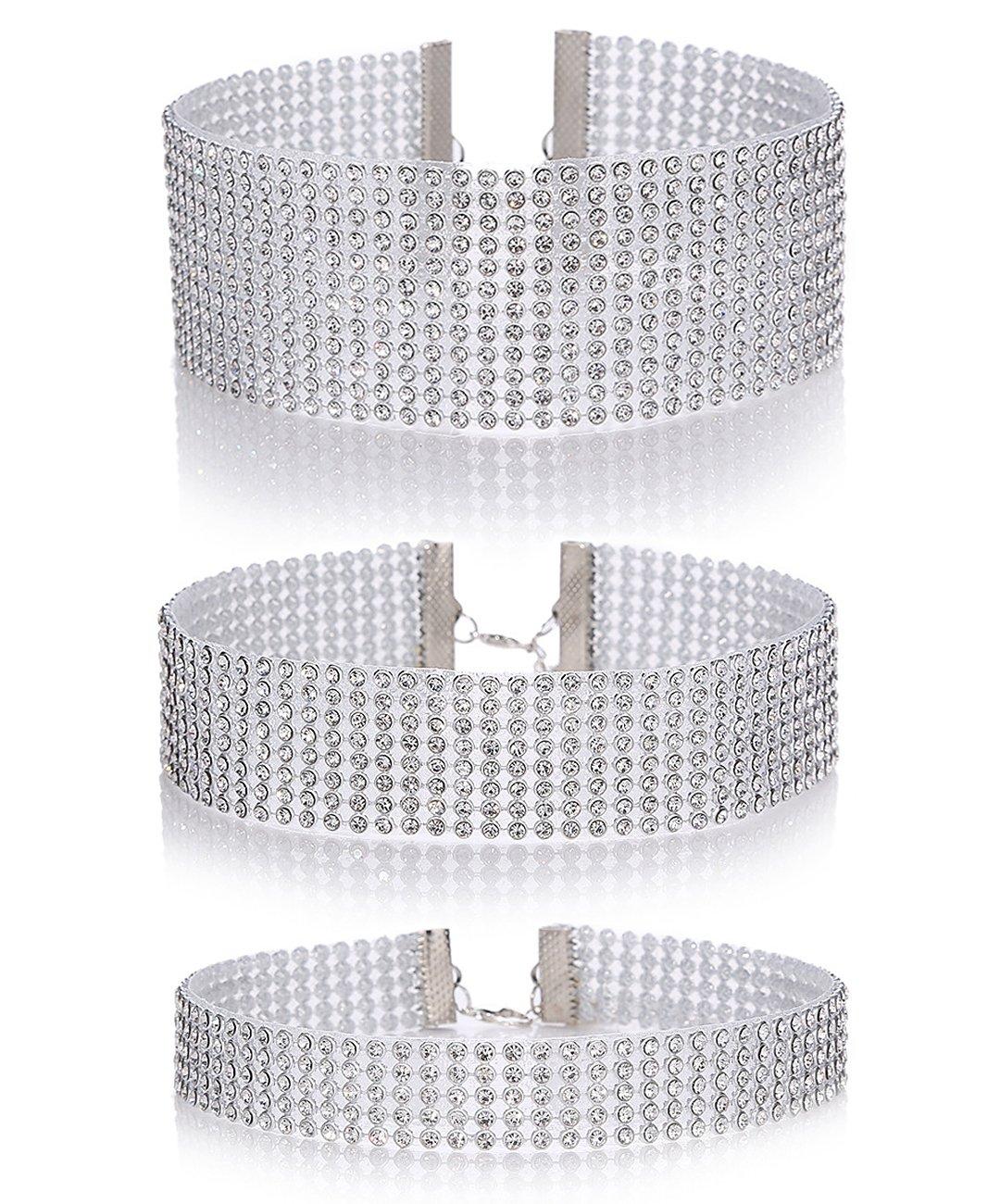 Naimo 3pcs Different Size Diamond Crystal Rhinestone Choker Necklace Wedding Collar Necklace