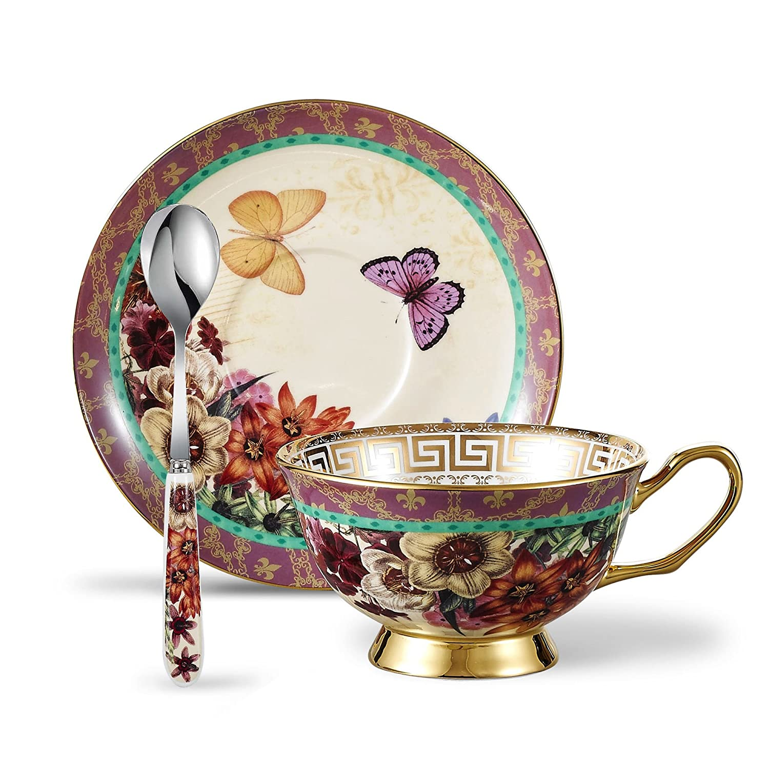 Panbado Bone China 6.8 oz Tea Cup and Saucer Set with Spoon, Set of 3 - Butterfly and Flower BC-CC-026