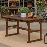 Walker Edison 6-8 Person Outdoor Patio Wood Extendable Rectangle Dining Table with Leaf All Weather Backyard…