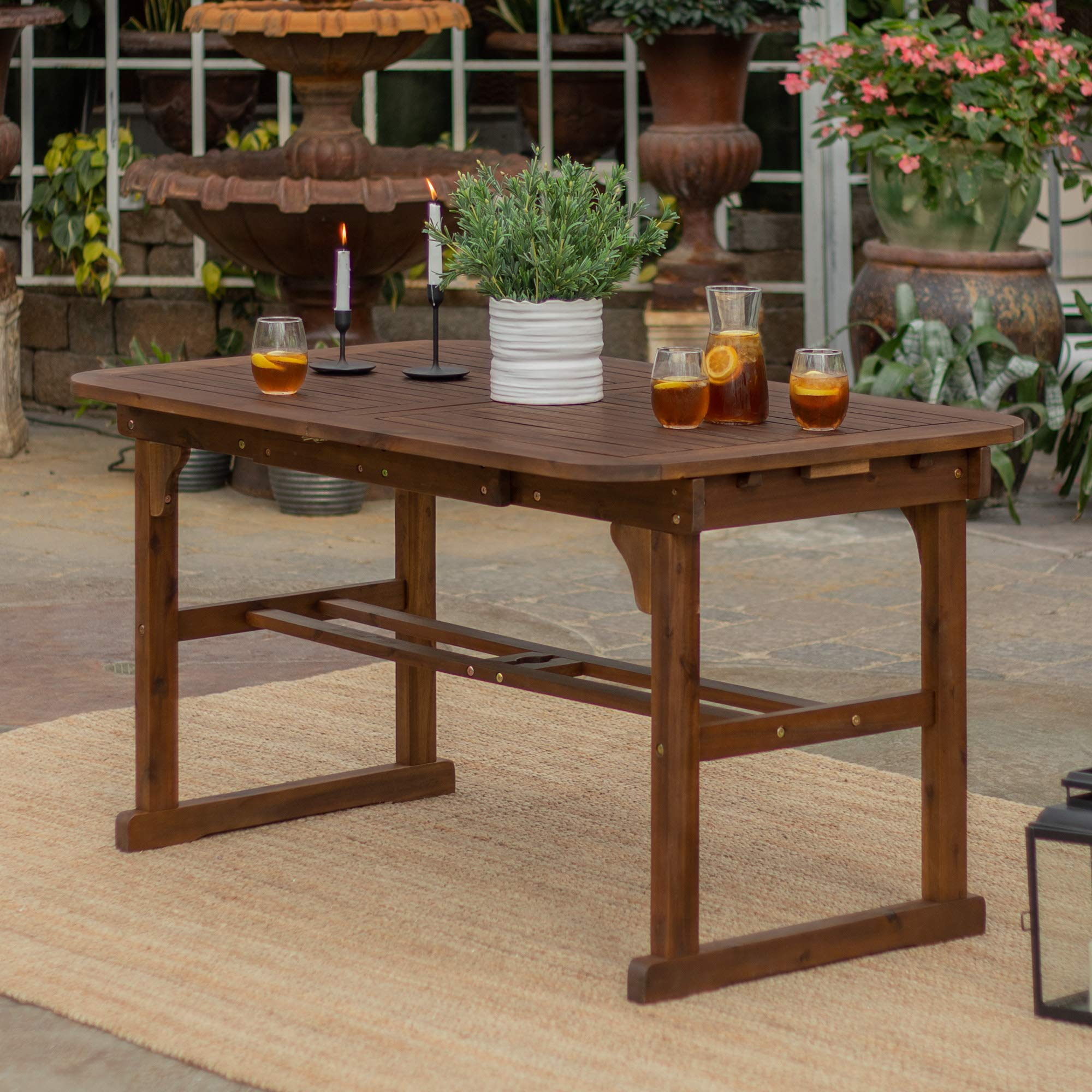 Walker Edison Maui Modern Solid Acacia Wood Slatted Patio Dining Table, 78 Inch, Dark Brown