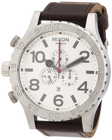 Nixon 51-30 Chrono Leather A1241113-00 - Reloj cronógrafo de cuarzo unisex,