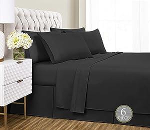 Sharry Home Linen California King Bed Sheets Set 6 Piece- Deep Pocket,Hypoallergenic, Ultra Soft,Wrinkle Resistant (Black,California King)