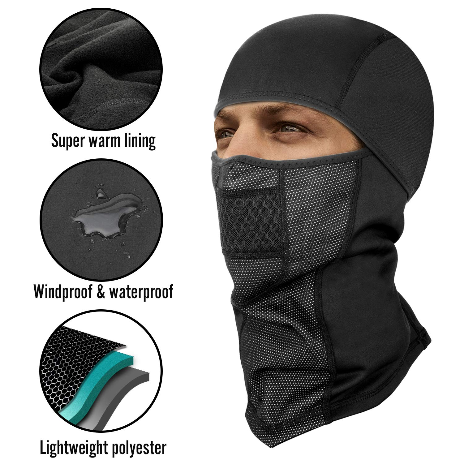 Windproof Ski Hood for Winter Sports Skiing Black Motorcycling SEVENS 2 PCS Balaclava Ski Mask Thermal Face Mask Snowboarding