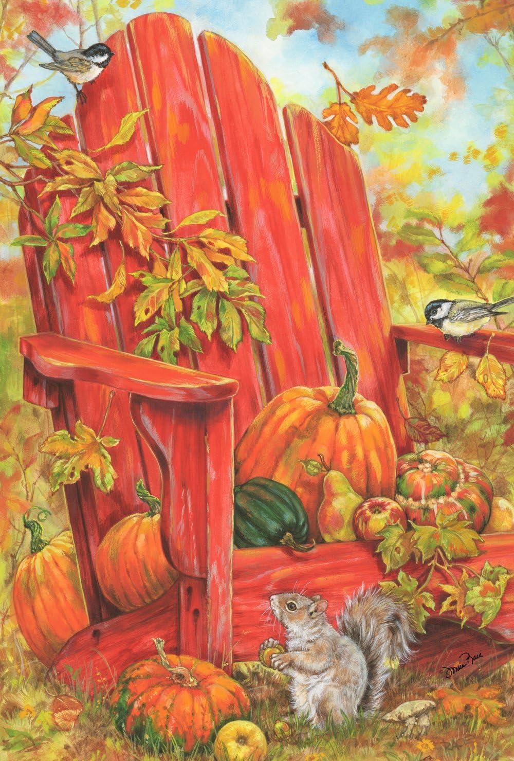 Toland Home Garden Fall Adirondack 12.5 x 18 Inch Decorative Autumn Harvest Chair Pumpkin Squirrel Garden Flag