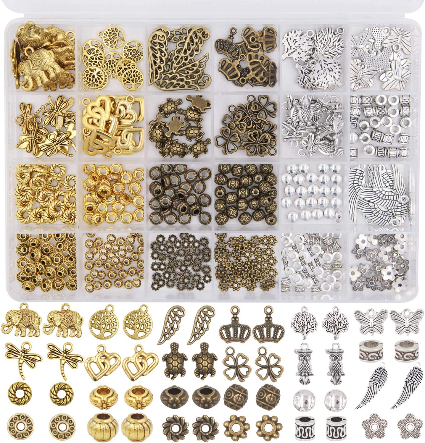 60 Patterns Tibetan Silver Metal Charms Loose Spacer Beads Wholesale Jewelry