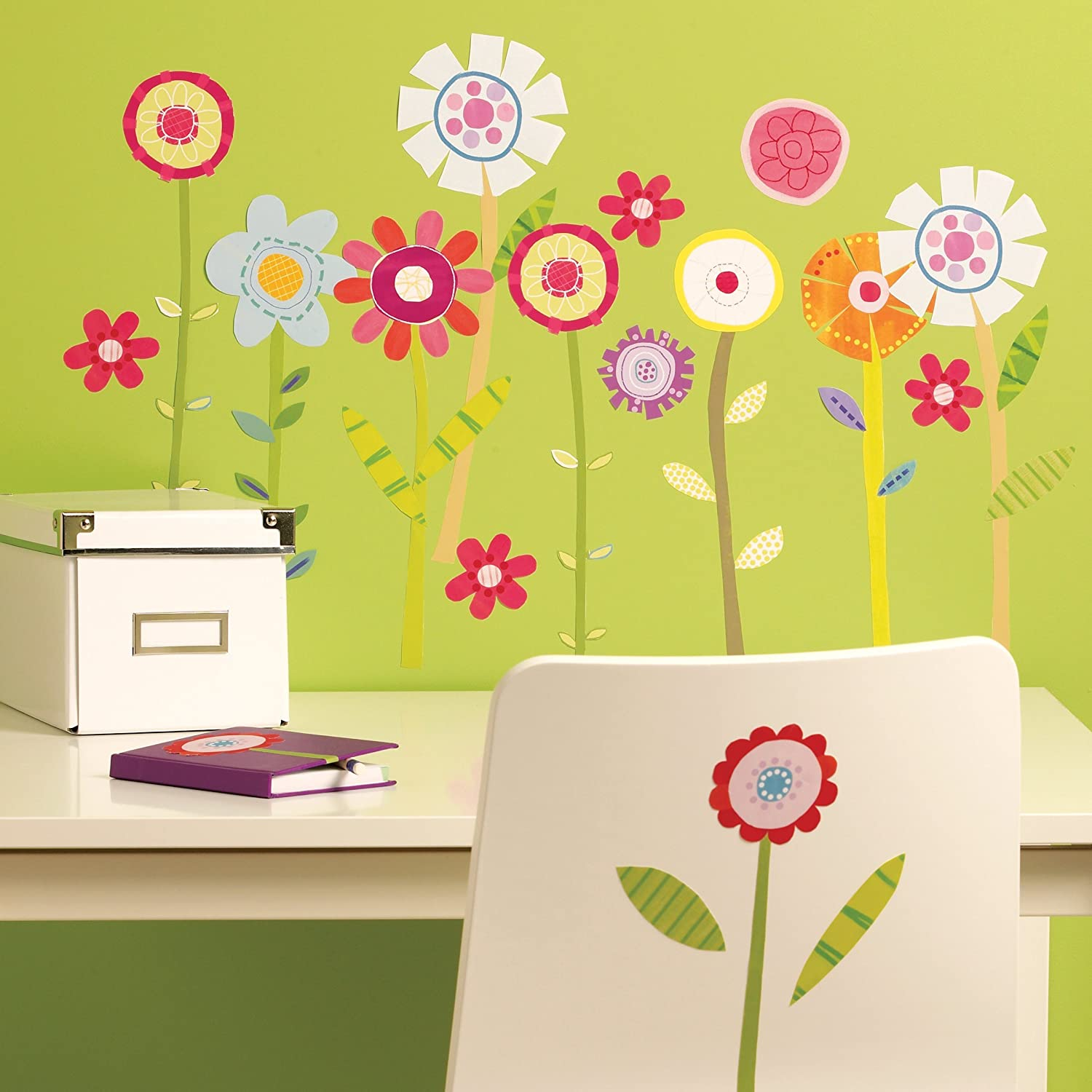 Amazon.com: Wallies Wall Decals, Green Garden Flower Wall Stickers ...