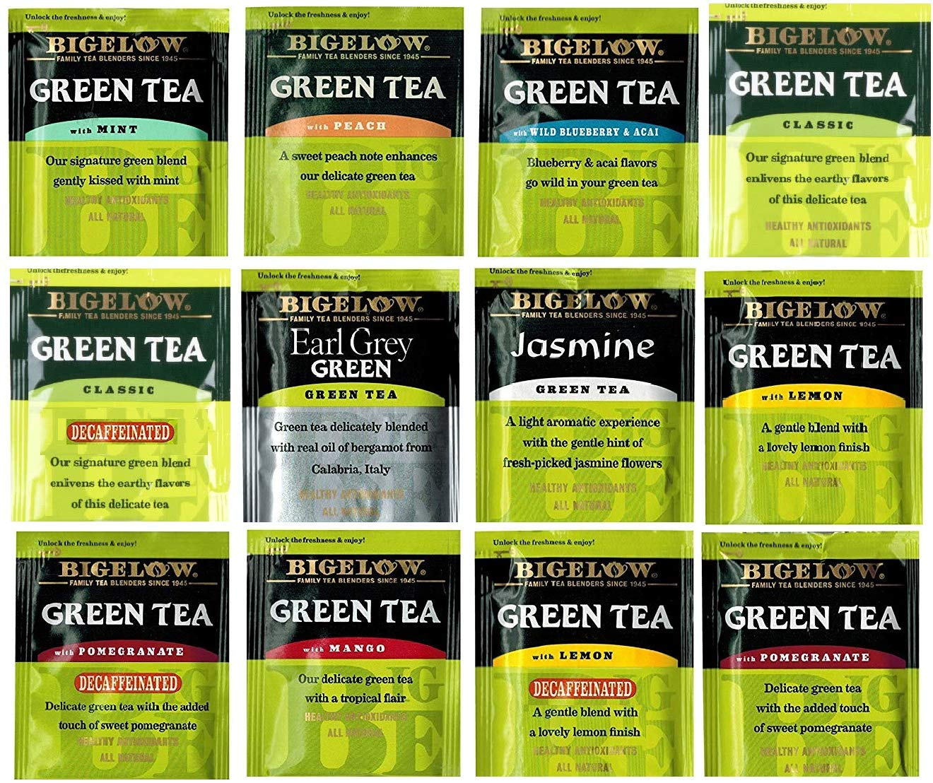 BIGELOW Tea Assorted Sampler Gift Box- 120 Individually Foil Wrapped Bags, 40 Different Flavors : Green Teas, Herbal Teas, Black Teas, Bigelow Benefits Teas and More. The Perfect Gift Set by ONDAGO (Image #2)