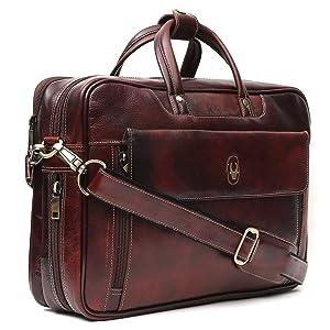 WildHorn 100 % Genuine Leather Brown 16 inch Men's Laptop Bag