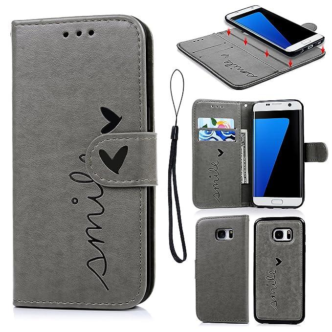 Geniric PU Leder Flip Handyhülle für Samsung Galaxy S7 Edge(Grau kleine Liebe) Wallet Cover in Book Style Stand Case Card Slo