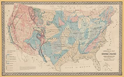 Amazon.com: Historic Map | 1872 Gray\'s Geological Map of the United ...