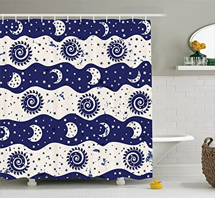 Sun And Moon Shower Curtain Wavy Color Bands With Spiral Phases Little Stars