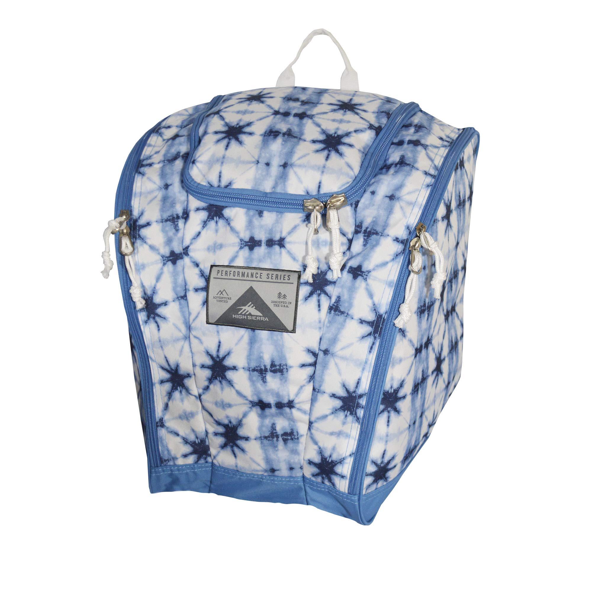 High Sierra Ski Boot Trapezoid Boot Bag, Indigo Dye/Mineral/White