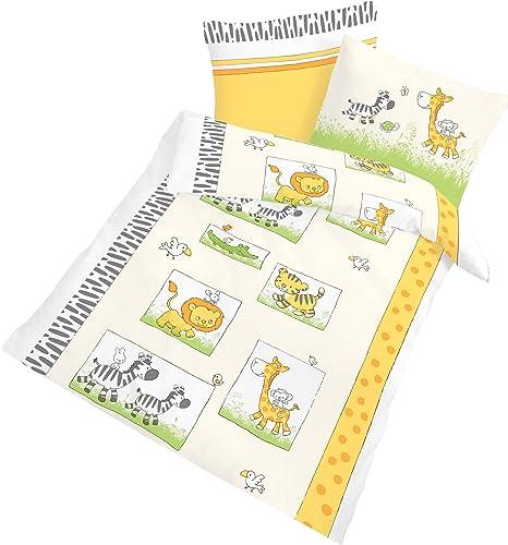 Bettwäsche Kinder Baby Bettbezug 100x135 100/% Baumwolle Beige Weiß Tier Muster