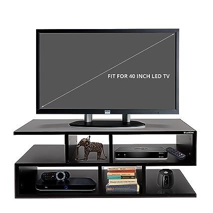 Klaxon Wooden TV Unit (Matte Finish, Black)