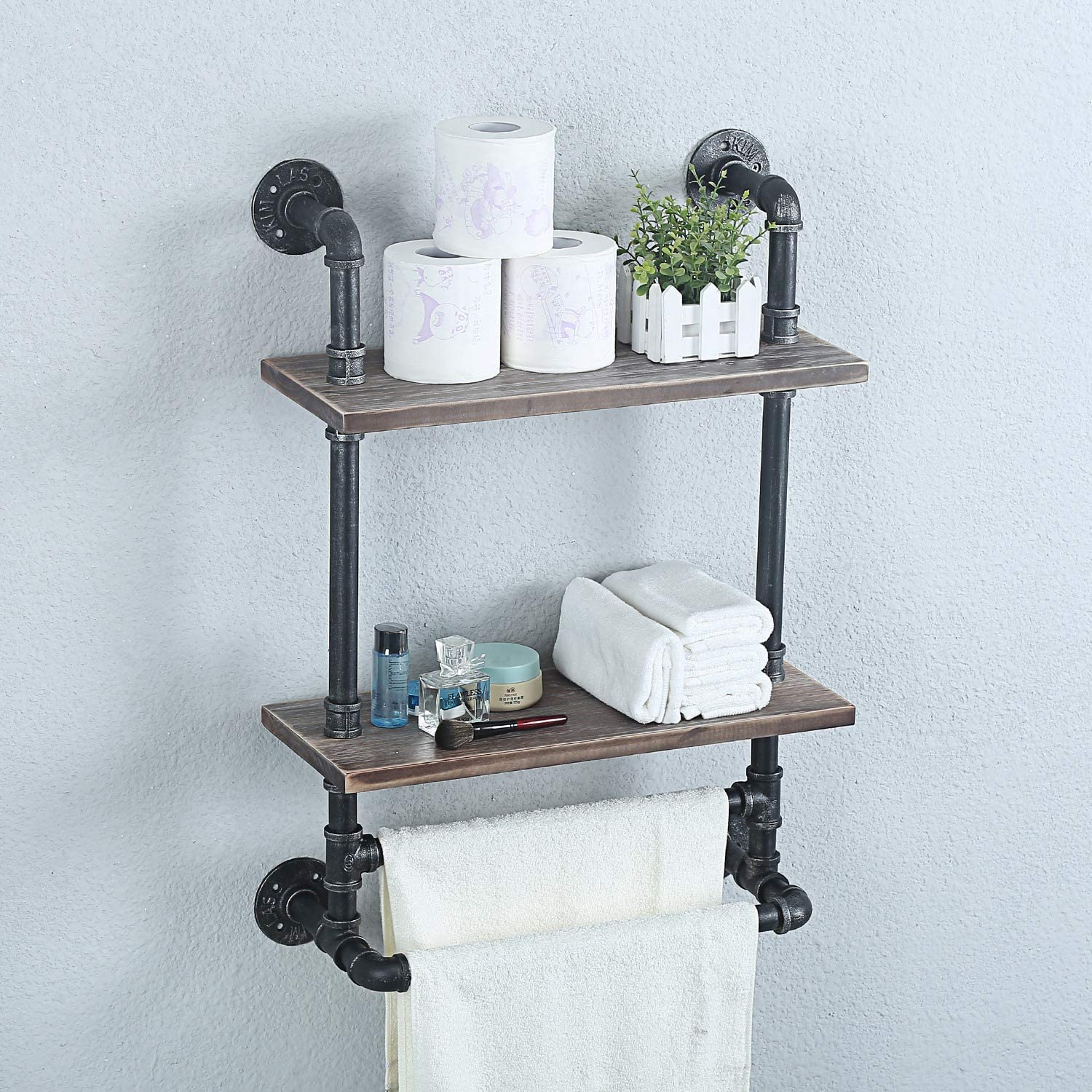 Weven Industrial Pipe Bathroom Shelves Wall Mounted,2 Tier Metal Floating Shelves Towel Holder,Towel Rack With 2 Towel Bar Wall Shelf Over Toilet,19.7in Rustic Wall Decor Farmhouse