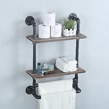 Iron Bathroom Storage Shelf Towel Hanger New Wall Mount Two Tiers Rack Organizer