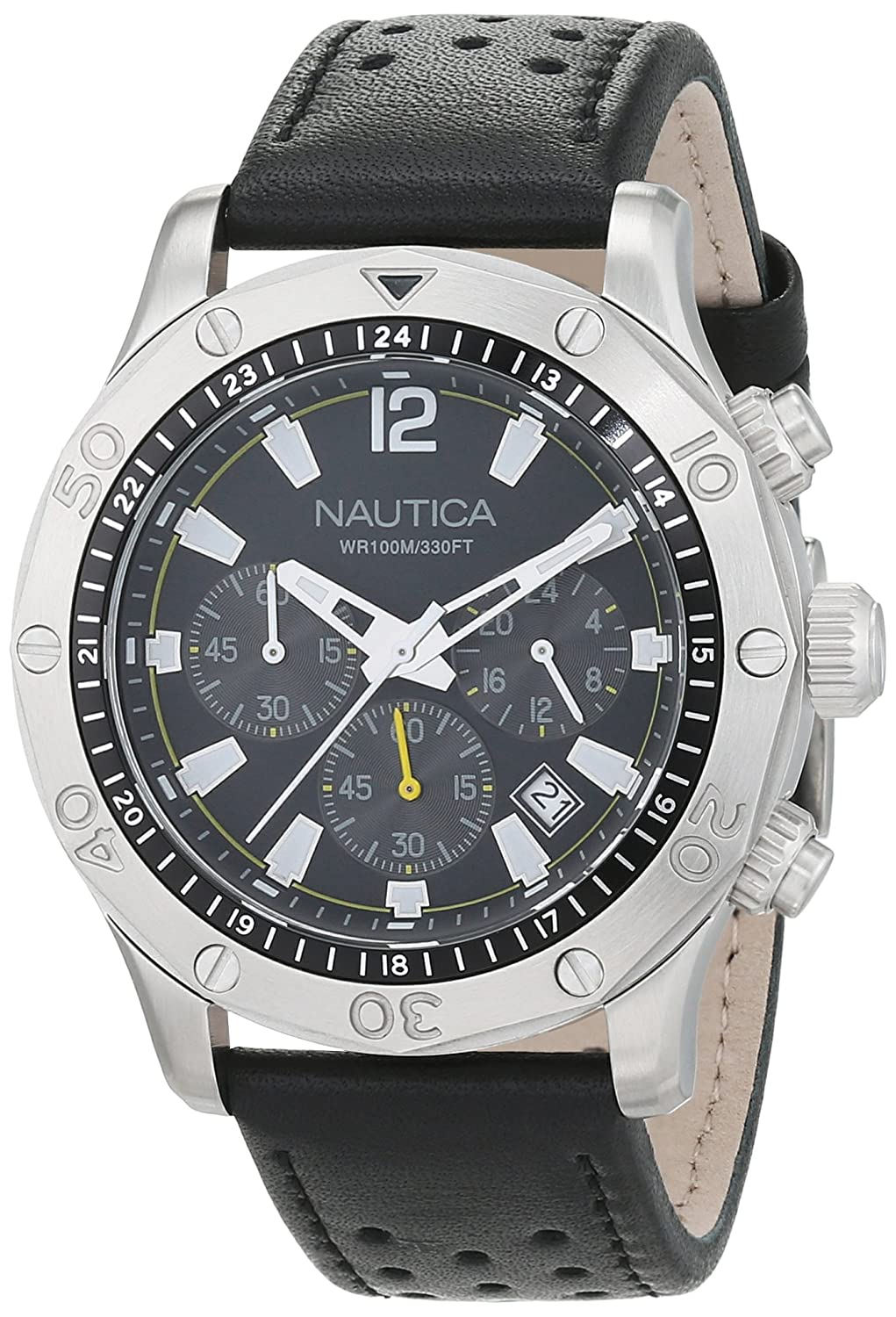 Amazon.com: Nautica Mens NST 21 Quartz Stainless Steel and Leather Casual Watch, Color:Black (Model: NAD16544G): Watches
