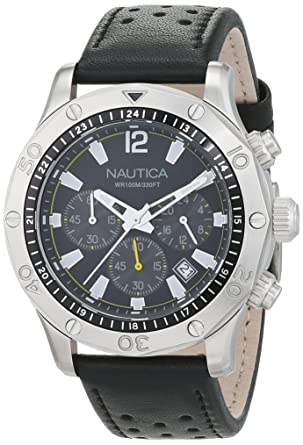 Nautica Mens NST 21 Quartz Stainless Steel and Leather Casual Watch, Color: