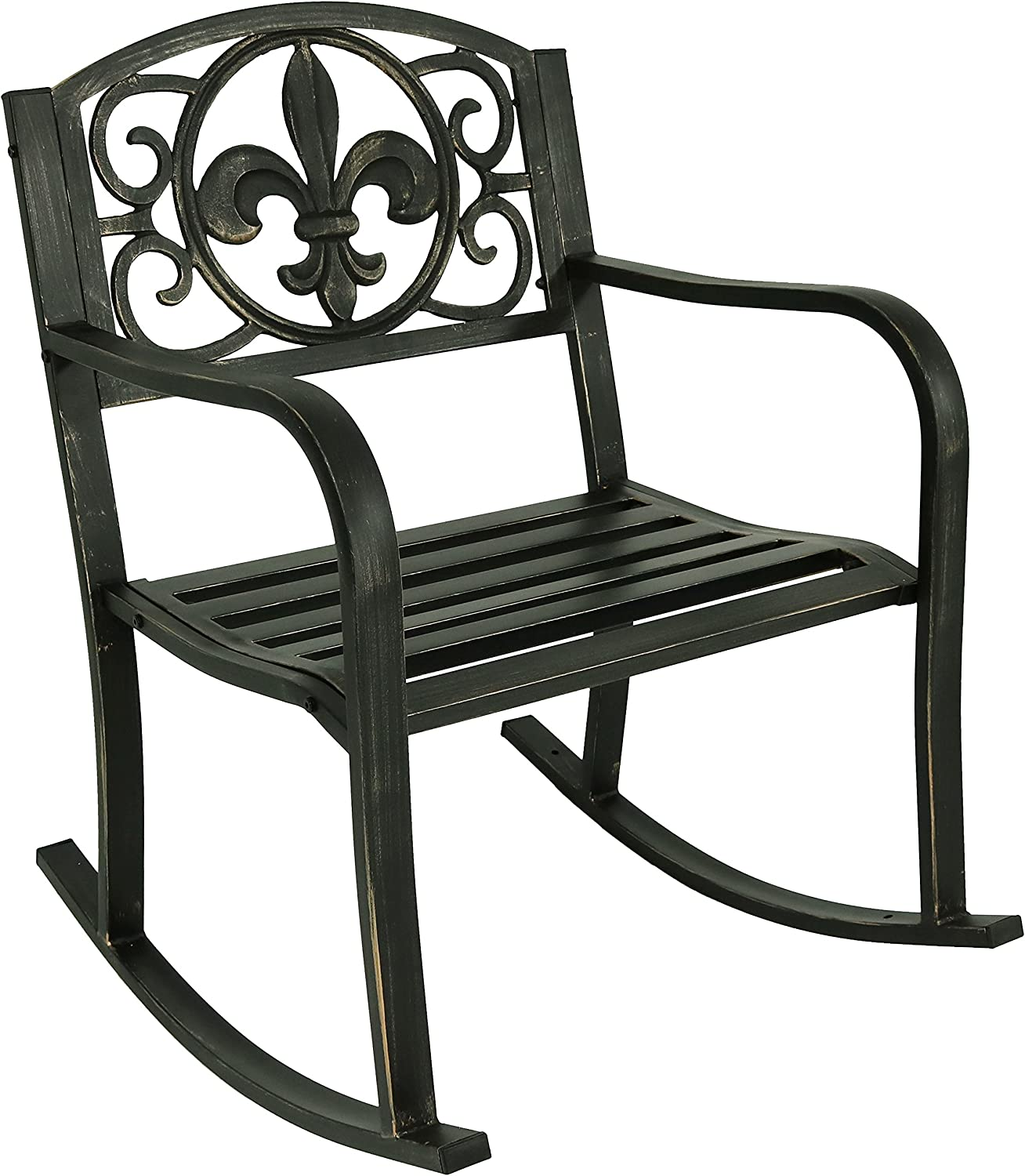 Sunnydaze Outdoor Patio Rocking Chair, Deck and Porch Rocker Seat, Durable Metal Cast Iron, Fleur-de-Lis Design