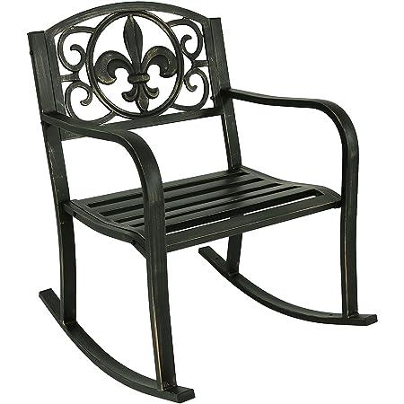 Sunnydaze Outdoor Patio Rocking Chair, Deck and Porch Rocker Seat, Durable Metal Cast Iron, Fleur-de-Lis Design