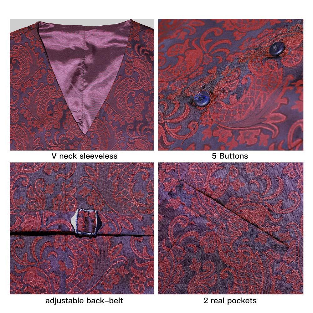 SuiSional Mens 4pc Classic Jacquard Suit Vests with Tuxedo Necktie Handkerchief Bowtie Set