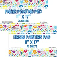 "U.S. Art Supply Large 11"" x 17"" Finger Painting Paper Pad - 25 Sheets 60lb (100gsm) Acid Free (Pack of 2 Pads))"