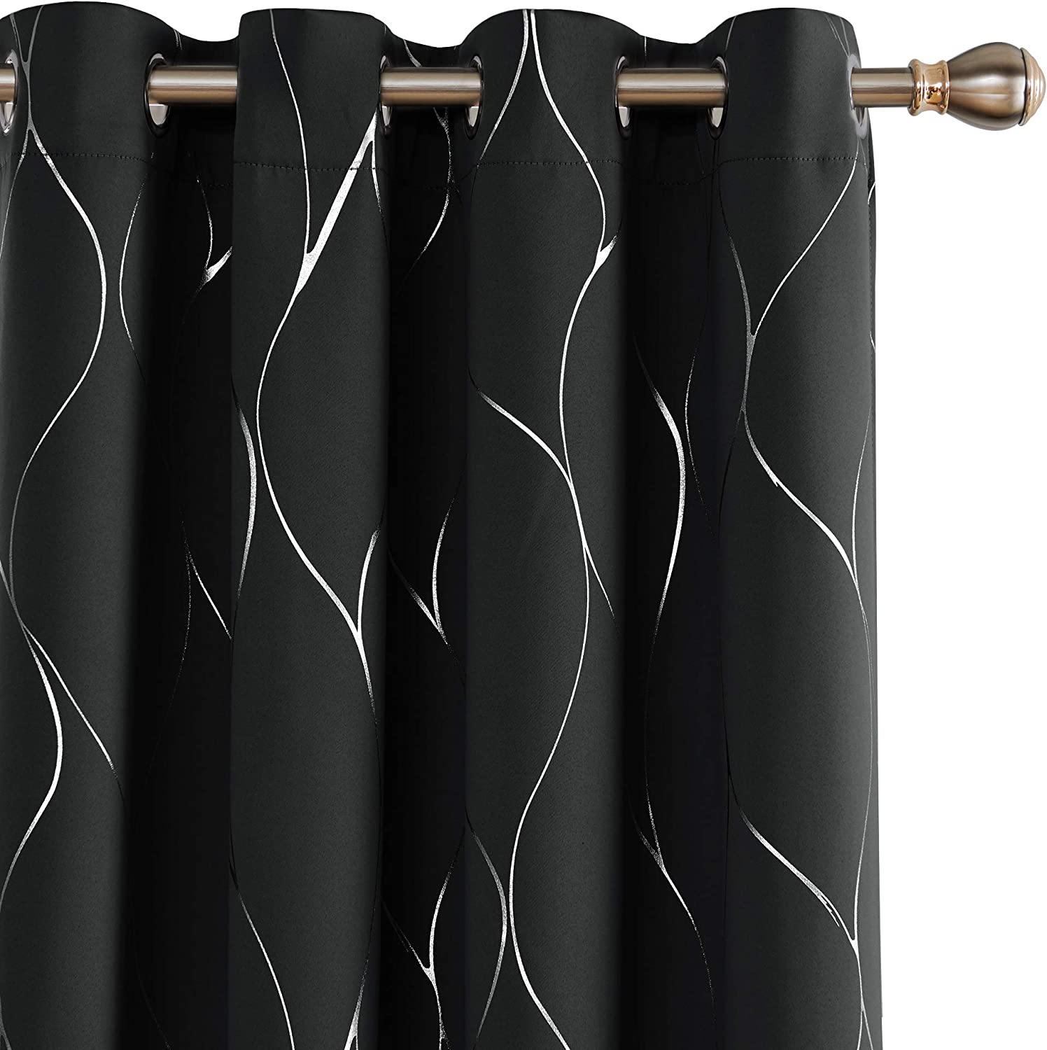 Deconovo Wave Printed Thermal Insulated Blackout Curtains Room Darkening Energy Efficient Panel Grommet Top Drapes for Glass Sliding Door 52W x 96L Inch 2 Panels Black