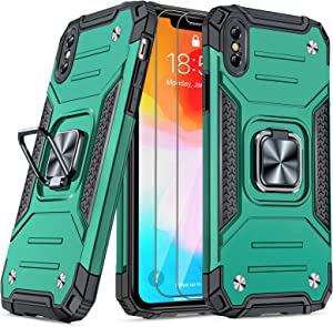 """JAME Case for iPhone Xs Max Case with Screen Protectors 2Pcs, Military-Grade Drop Protection, Protective Phone Cases with Car Mount, Ring Kickstand Shockproof Bumper Case for iPhone Xs Max 6.5"""" Green"""