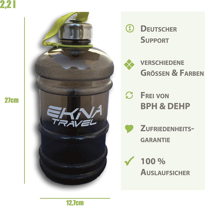 Pour la vie quotidienne Avec indicateur de niveau Gallon deau Id/éal pour les besoins quotidiens en eau EKNA Bouteille la forme physique ou le voyage Sans BPA Bouteille deau vert Bouteille /à boire 2,2 litres