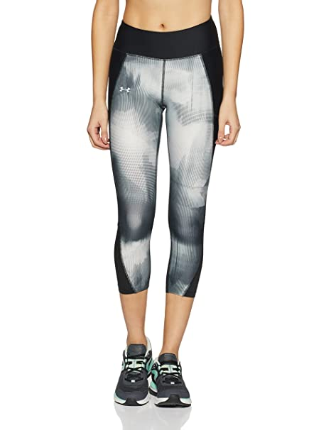 d3400e674e10c Under Armour Women's Fly-By Printed Capri,Black /Reflective, X-Small