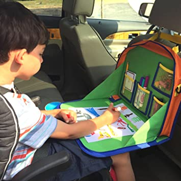 kids backseat organizer holds crayons markers an ipad kindle or other tablet great for road
