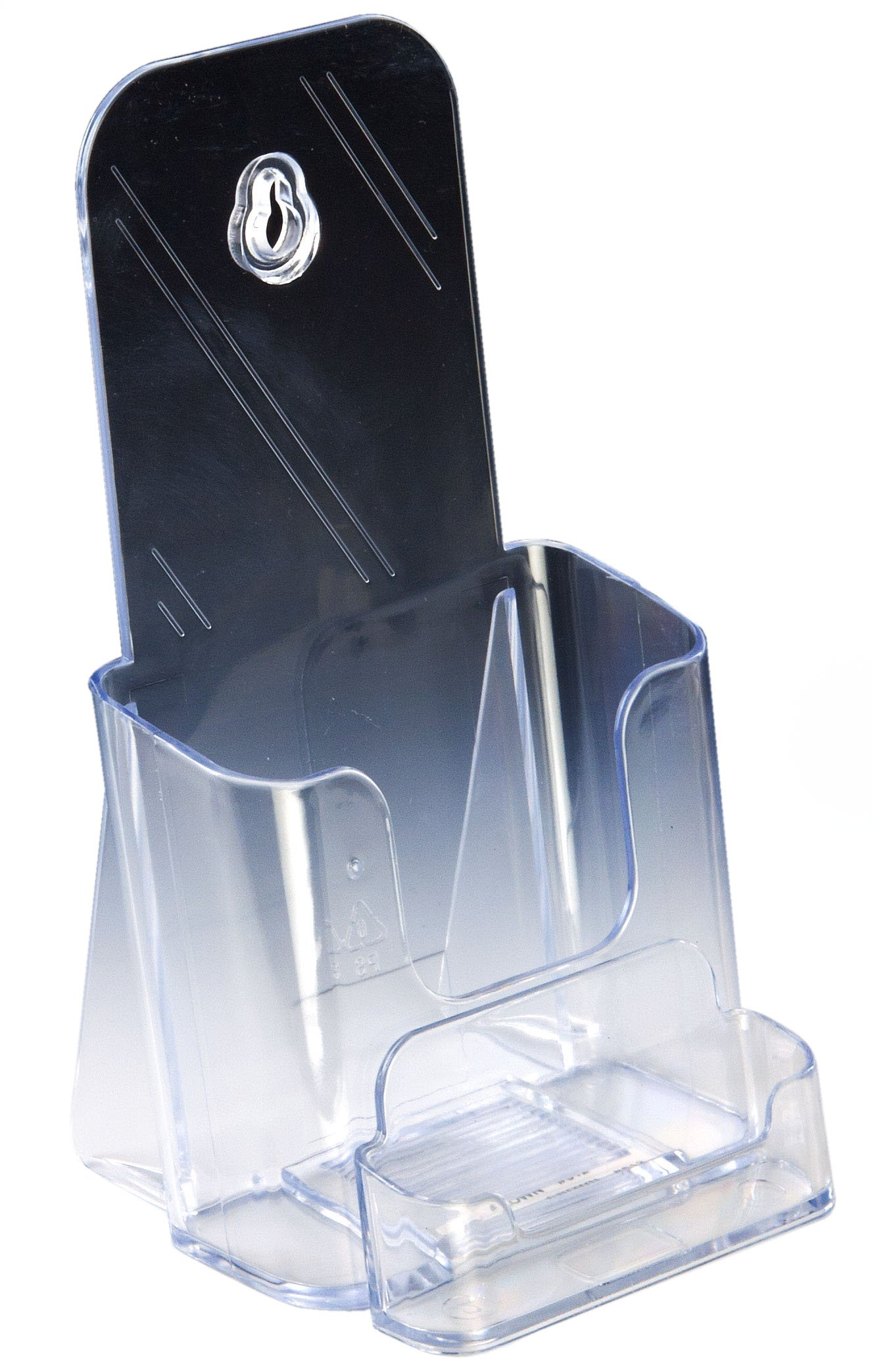 Displays2go Set of 60, Brochure Holder, Clear Injection Molded Plastic Literature Dispenser for 4 x 9 Inches Promotions - Countertop Leaflet Display Includes a Business Card Pocket (LDTK40CARD)