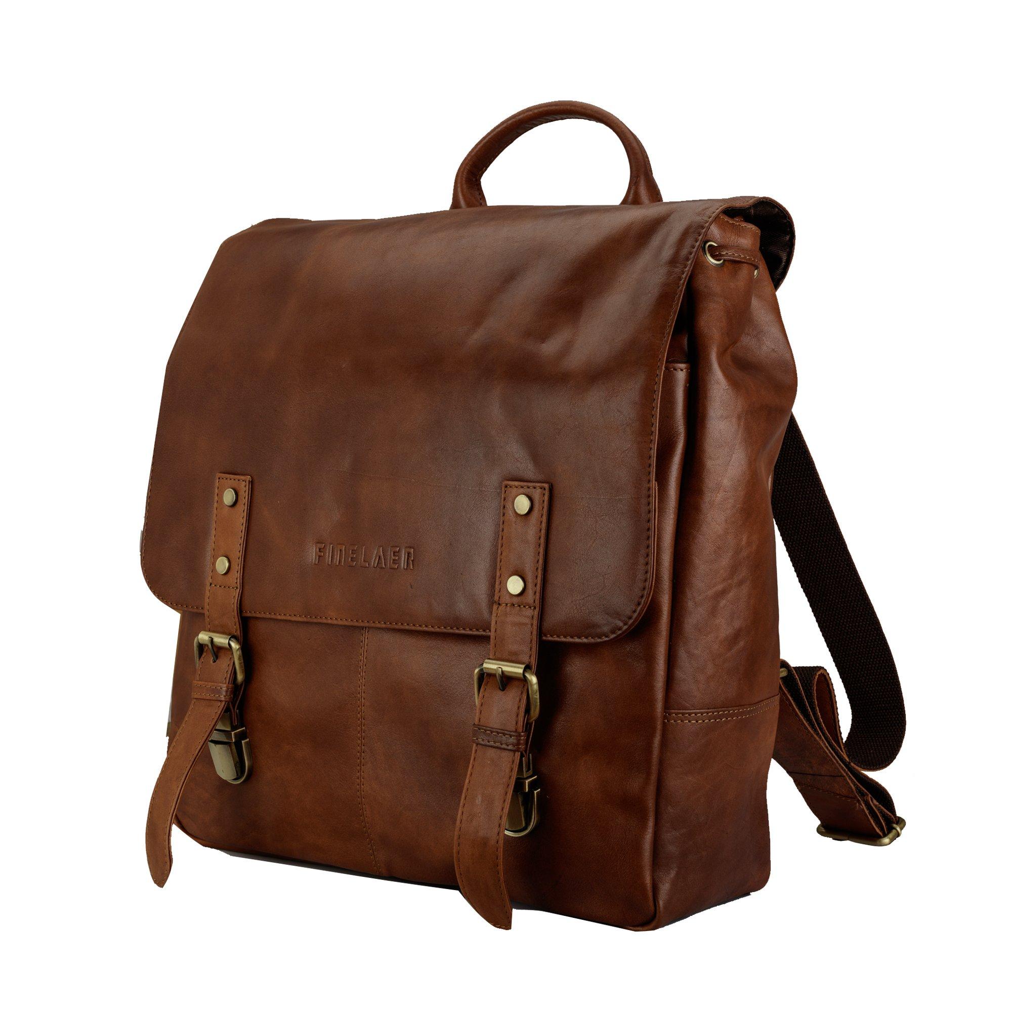 Finelaer Vintage Brown Laptop Backpack Daypack Rucksack Travel Hiking Bag Men Women by FINELAER (Image #4)