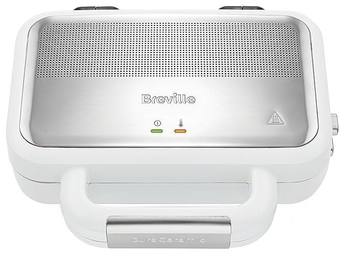 Breville DuraCeramic VST074X Sandwichera con Revestimiento, 850 W, Acero Inoxidable, Blanco